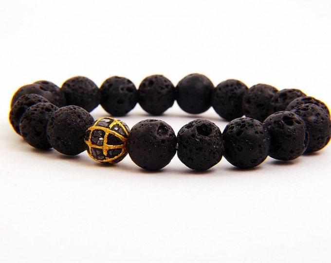 1.00 carat black diamond and natural lava rock bracelet