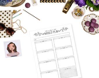 Weekly Planner Printable Planner Insert Weekly Plans Household Planner Business Planner Weekly Journaling Calendar