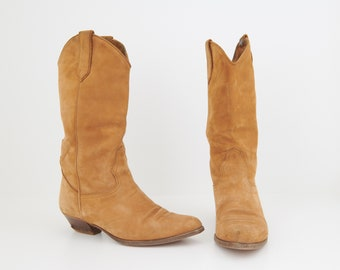 Tan Suede Cowboy Boots, Size 38