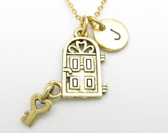 Door and Key Necklace, Door Charm, Personalized, Initial Necklace, Home Sweet Home, House Door Key, Stamped Initial Letter, Monogram Z094