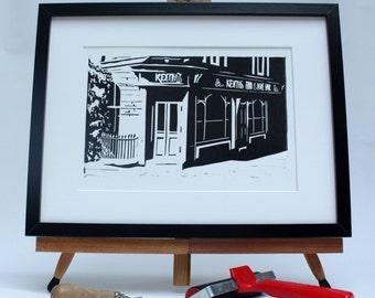 Liverpool print - Hand Printed Linocut - Keiths Wine Bar - Lark Lane - Michael James - SomethingPenandInks - limited edition