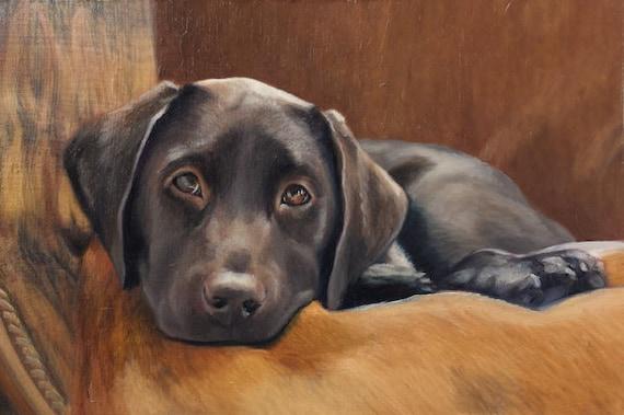 CUSTOM PET PORTRAIT - Miniature portrait - Small Painting - Lab Painting - Oil Painting