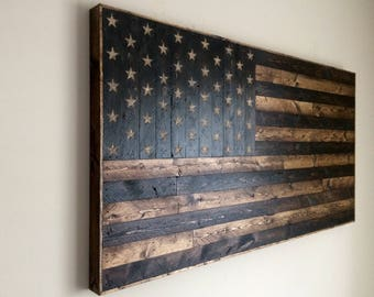 Large Rustic|Hand Carved|American Flag|Rustic American Flag|Reclaimed Wood|Wood American Flag|Wood Wall Art|Americana|Rustic Decor|Wood Flag