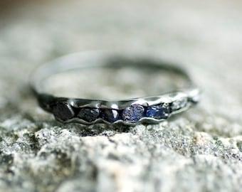 Raw Blue Sapphire Ring. Blue Sapphire Ring. Blue Sapphire Engagement Ring. Blue Sapphire Band. Blue Sapphire Wedding Band. Raw Sapphire Ring