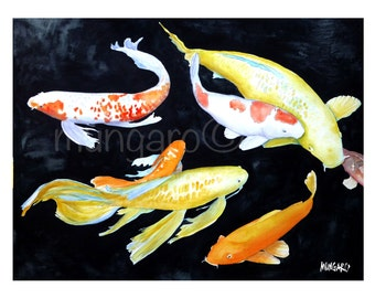 Koi no. 2 watercolor print by Marley Ungaro