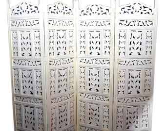 Hand Carved Room Divider, Bohemian Room Divider, Room Divider Screen,  Folding Screen Room