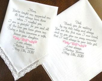 Mom and Dad Wedding Gift Mother of the Bride Father of the Bride Wedding Gifts Embroidered Wedding Handkerchiefs Gifts for Brides Mom & Dad
