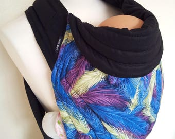 MEI TAI Baby Carrier / Sling / Reversible/ Feathers with Black in leg cut model