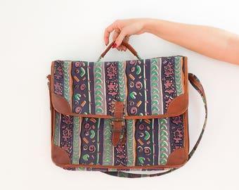 Vintage bag, Messenger bag, vintage handbag, vintage messenger bag, 90's print bag, leather messenger bag, briefcase, satchel