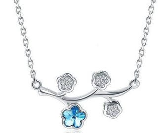 Silver Aqua Flower Necklace