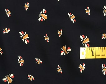 Bees Knees Vintage Style Rayon Fabric by the Yard, Navy Rayon Crepe Fabric Yardage, Fabric by the Yard, Yardage