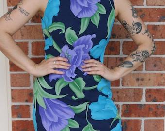 1990s Floral Mid Length Dress Size 10
