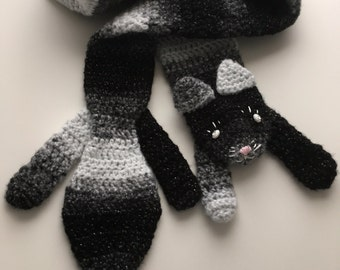 "Glamorous ""Kittibella"" Hand Crocheted Kitty Scarf"