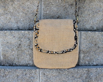 Natural/Beige Jute Crossbody Purse/Bag Lined in Hand-stamped Starburst Print on Cotton in Yellow/Olive/Natural 2 patterns