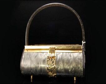 Vintage Art Deco Tyroean Grey Lucite Box Purse Hand Bag