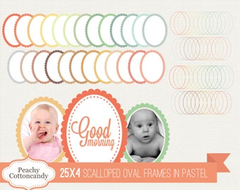 BUY 2 GET 1 FREE 100 Scalloped Oval Frames Clip Art in Pastel Colors- Scalloped Oval Labels digital clipart - Personal and Commercial Use
