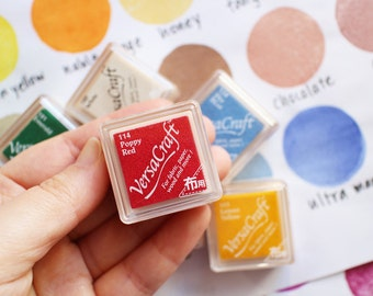 versacraft ink pads | tsukineko rubber stamp ink pad | multipurpose pigment ink for fabric paper wood leather | small | choose 8 colors