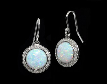 Fire Opal 10mm With White Sapphire Accents Earrings .925 Sterling Silver