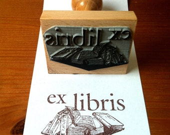 Personalized Books Bookplate Stamp Ex Libris Stamp with wooden holder and free stamp pad