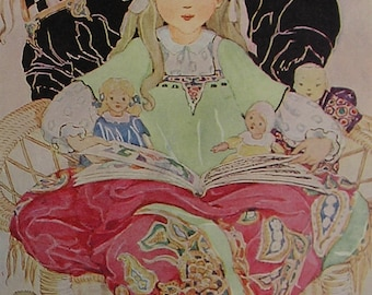 ANNE ANDERSON Vintage Children's Print - 1920's - Pretty Ribbon Haired Girl in Bed telling Stories to her Dolls - Matted - Ready to Frame