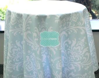Tablecloth - Premier Prints - OZBORNE Damask  - Powder Blue - Choose Your Size - Table Linen Wedding Home Decor Dining Kitchen