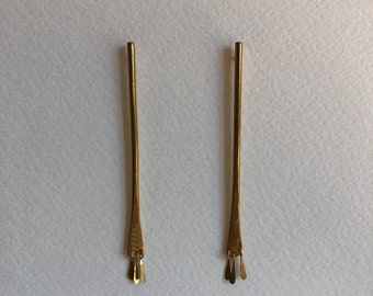 Hammered Brass Stick Earrings with Fringe - Long