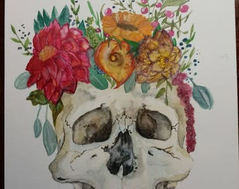 Flower Skull Watercolor Painting