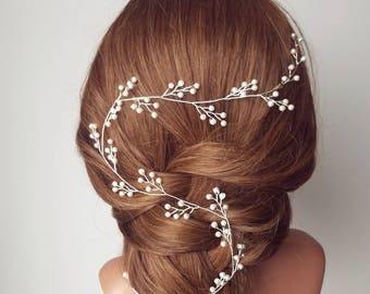 Bridal Hair Wreath, Pearl Baby's Breath Headpiece, Babies Breath Wedding Hair Vine, Pearl Leaf Hair Piece, Bridal Hairpiece, Vine Hair Comb