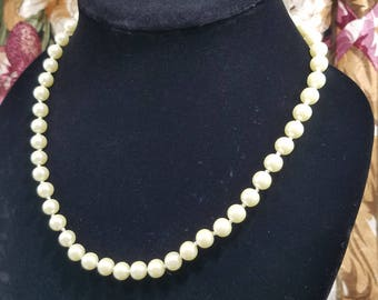 Classic & Elegant Faux Pearl Necklace with Gold Tone Clasp by Avon