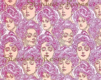 DIGITAL DOWNLOAD Printable ArT Antique Gibson Girls Wallpaper – INSTANT Background Print - Scrapbooking Junk Journal Paper Altered Art DD216