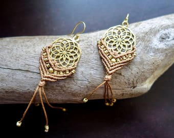 Brass Macrame Earrings | Brown, Sacred Geometry | Bohemian Chic | Flower of Life Dream Catcher