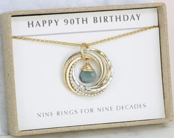 90th birthday gift, March birthstone gift for 90th, mother birthday gift March, aquamarine necklace 90th - Lilia