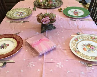 """83"""" x 58""""-Vintage Pink with White Linen Embroidered Flowers Tablecloth/Table Covering/Fabric/Napkins"""