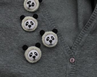 Felt brooch panda, little cute brooch, panda jewelry, wool felt, handmade, felted pin, animal, felted animal, wool brooch, tiny brooch