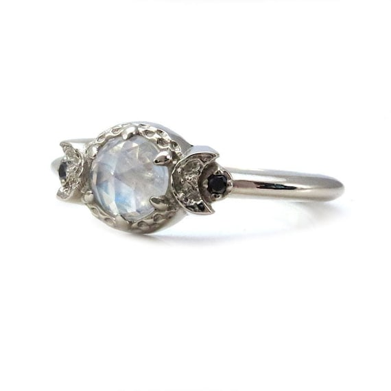 Rose Cut Moonstone and Diamond Crescent Moon Engagement Ring - 14k Gold