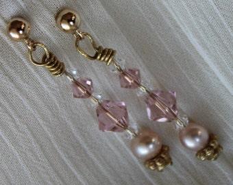 Vintage Rose Crystal and Pearl Earrings