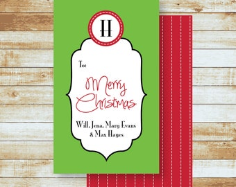 Personalized Holiday Gift Tags / Merry Christmas Script
