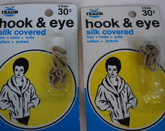 Set of 2  packages Hook and Eye, Silk Covered by Traum Vintage