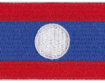 Small Laos Flag Iron On Patch 2.5 x 1.5 inch Free Shipping