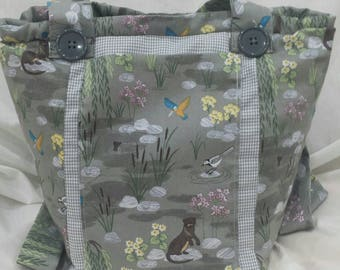 Otters/Kingfishers and Ducklings cover this Handmade, Vegan Shoulder Bag.