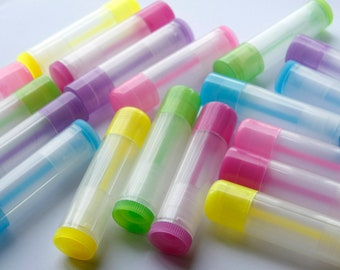 500 Colored translucent Empty LIP BALM Containers (Tubes & Caps) Pick Color