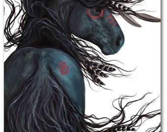 Majestic Black Stallion Native American Spirit Horse ArT-  Giclee Print by Bihrle mm135