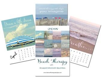 Inspirational Calendar 2018 beach motivational calendar quotes, photo calendar easel, 5x7 4x6 calming relax mother gift inspirational her