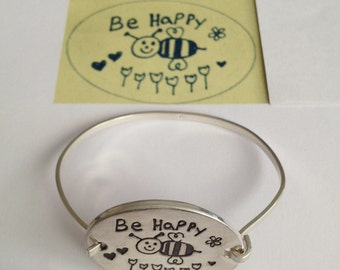 What An Awesome TEACHER GIFT - Design it Yourself Silver Bracelet- Fully Double Sided-Made to Order