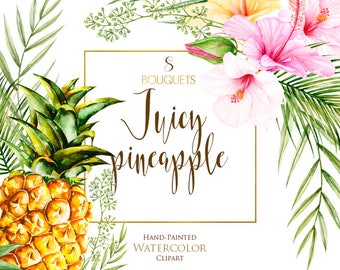 Watercolor Pineapple, Tropical Flowers, Pink Hibiscus, Palm Leaves, Exotic Hawaii, Yellow Fruits, Floral Bouquet Arrangements, cards, invite