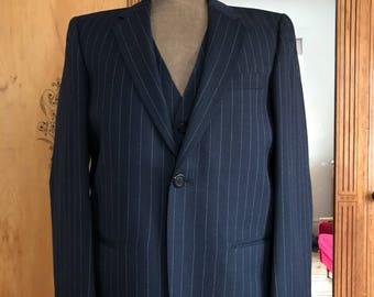 Vintage Mens Blue Pinstripe 3 Piece Suit Burton Mod 38 S