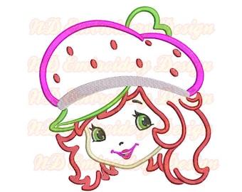 Strawberry Shortcake Applikationen, Stickereien Maschinendesign, Mädchen Gesicht, Gr-031