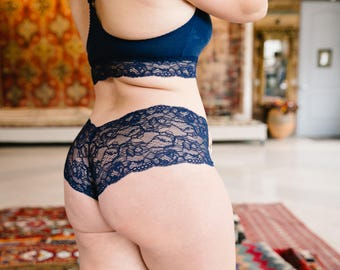 Navy Blue Mid-Rise Panties with Organic Cotton Liner
