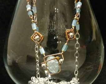Copper, Silver-toned, SkyBlue Necklace