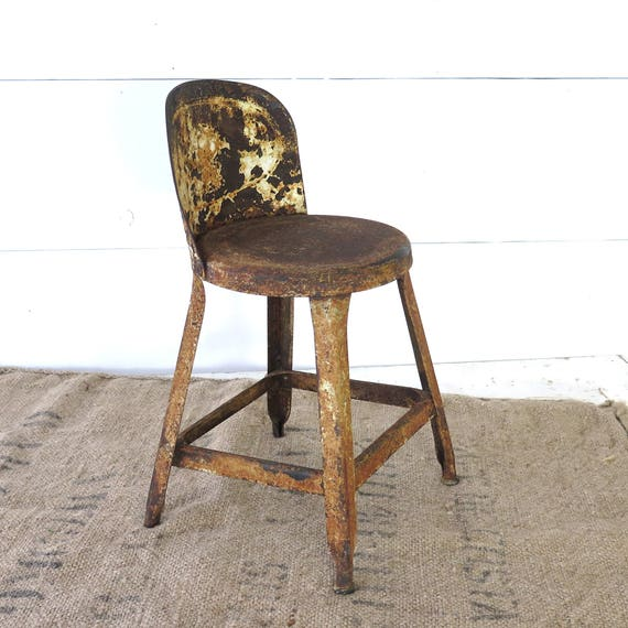 Vintage Small Metal Shop Stool Petite Chair Salesman Sample